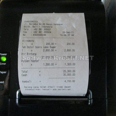 Hasil cetak menggunakan kertas kasir ukuran 80mm
