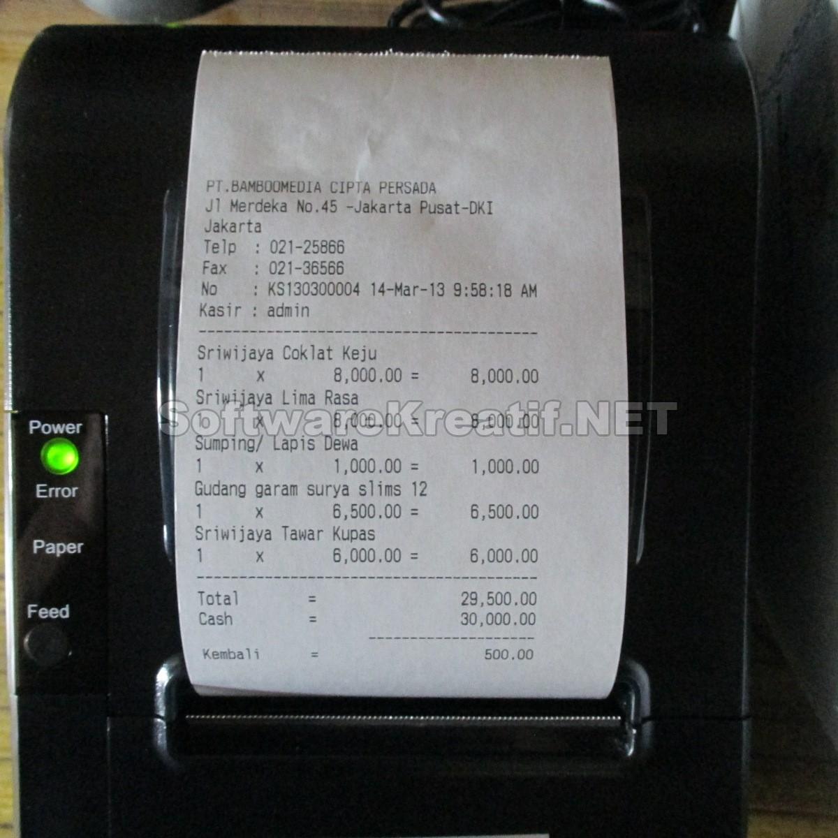Hasil cetak struk kasir menggunakan kertas kasir ukuran 80mm
