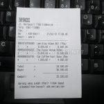 Hasil cetak struk kasir menggunakan printer kasir dan kertas ukuran 58mm